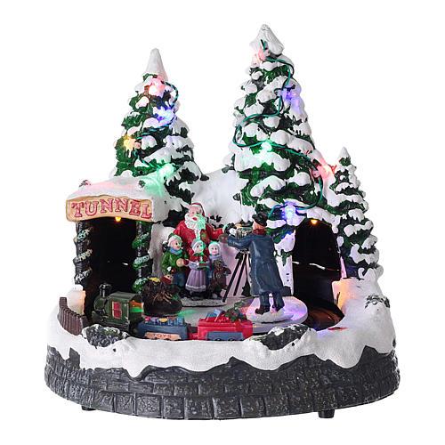 Pueblo navideño luces música 20x20x15 cm fotógrafo Papá Noel niños 1