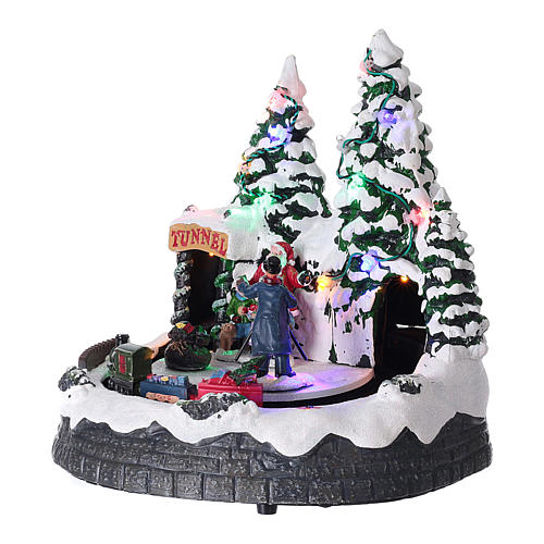 Pueblo navideño luces música 20x20x15 cm fotógrafo Papá Noel niños 3