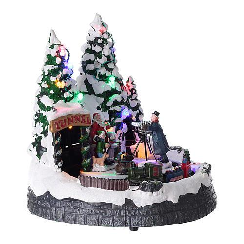 Pueblo navideño luces música 20x20x15 cm fotógrafo Papá Noel niños 4