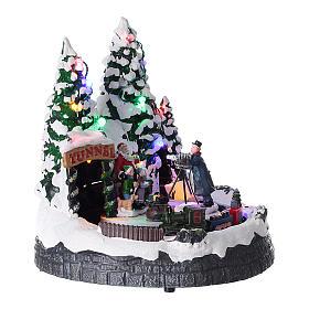 Village de Noël lumières musique 20x20x15 cm photographe Père Noël enfants s4