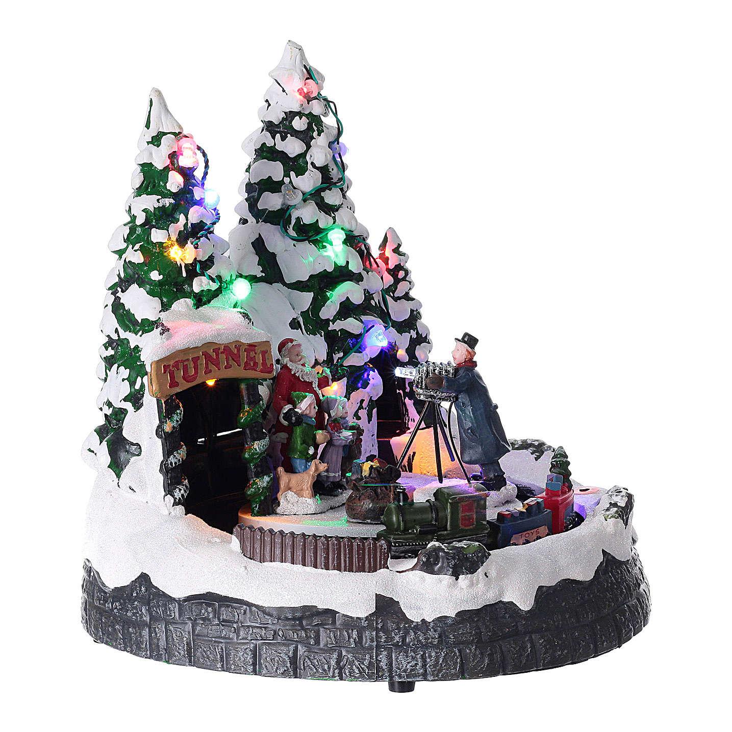 Villaggio natalizio luci musica 20x20x15 cm fotografo Babbo Natale bambini 3