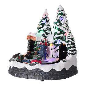 Villaggio natalizio luci musica 20x20x15 cm fotografo Babbo Natale bambini s3