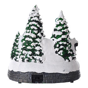 Villaggio natalizio luci musica 20x20x15 cm fotografo Babbo Natale bambini s5