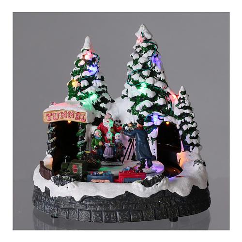 Villaggio natalizio luci musica 20x20x15 cm fotografo Babbo Natale bambini 2
