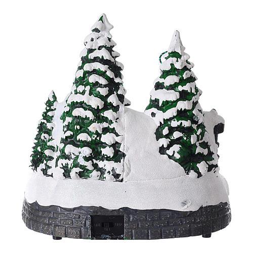 Villaggio natalizio luci musica 20x20x15 cm fotografo Babbo Natale bambini 5