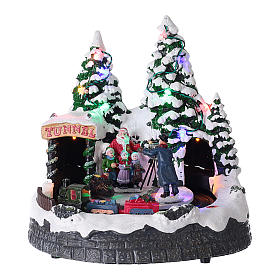 Cenários Natalinos em Miniatura: Cenário natalino luzes música 20x20x15 cm fotógrafo Pai Natal crianças