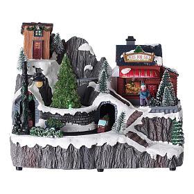 Cenários Natalinos em Miniatura: Cenário de Natal carros movimento luzes música 20x20x15 cm