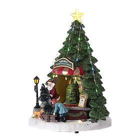 Winterszene, Weihnachtsmann beim Weihnachtsbaumverkauf, 35x20 cm s3