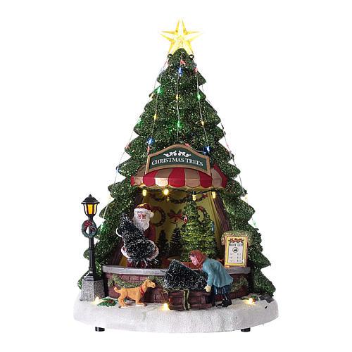 Winterszene, Weihnachtsmann beim Weihnachtsbaumverkauf, 35x20 cm 1