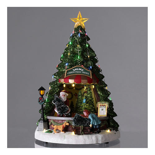 Winterszene, Weihnachtsmann beim Weihnachtsbaumverkauf, 35x20 cm 2