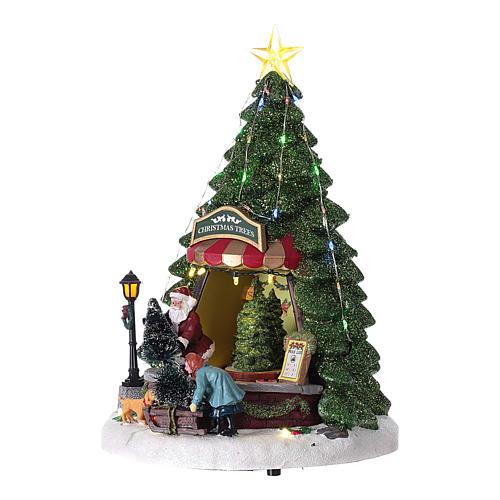 Winterszene, Weihnachtsmann beim Weihnachtsbaumverkauf, 35x20 cm 3
