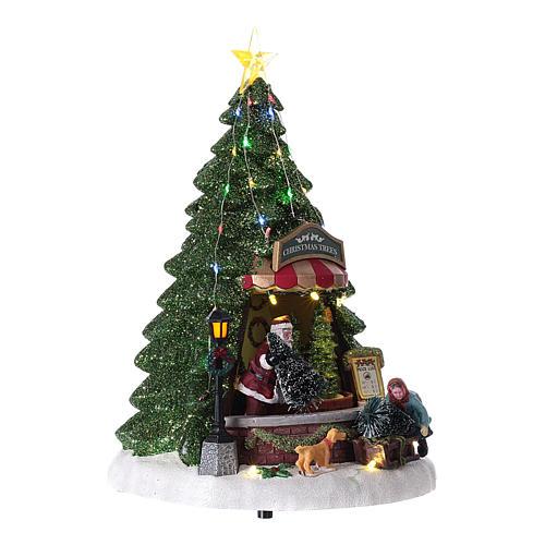 Winterszene, Weihnachtsmann beim Weihnachtsbaumverkauf, 35x20 cm 4