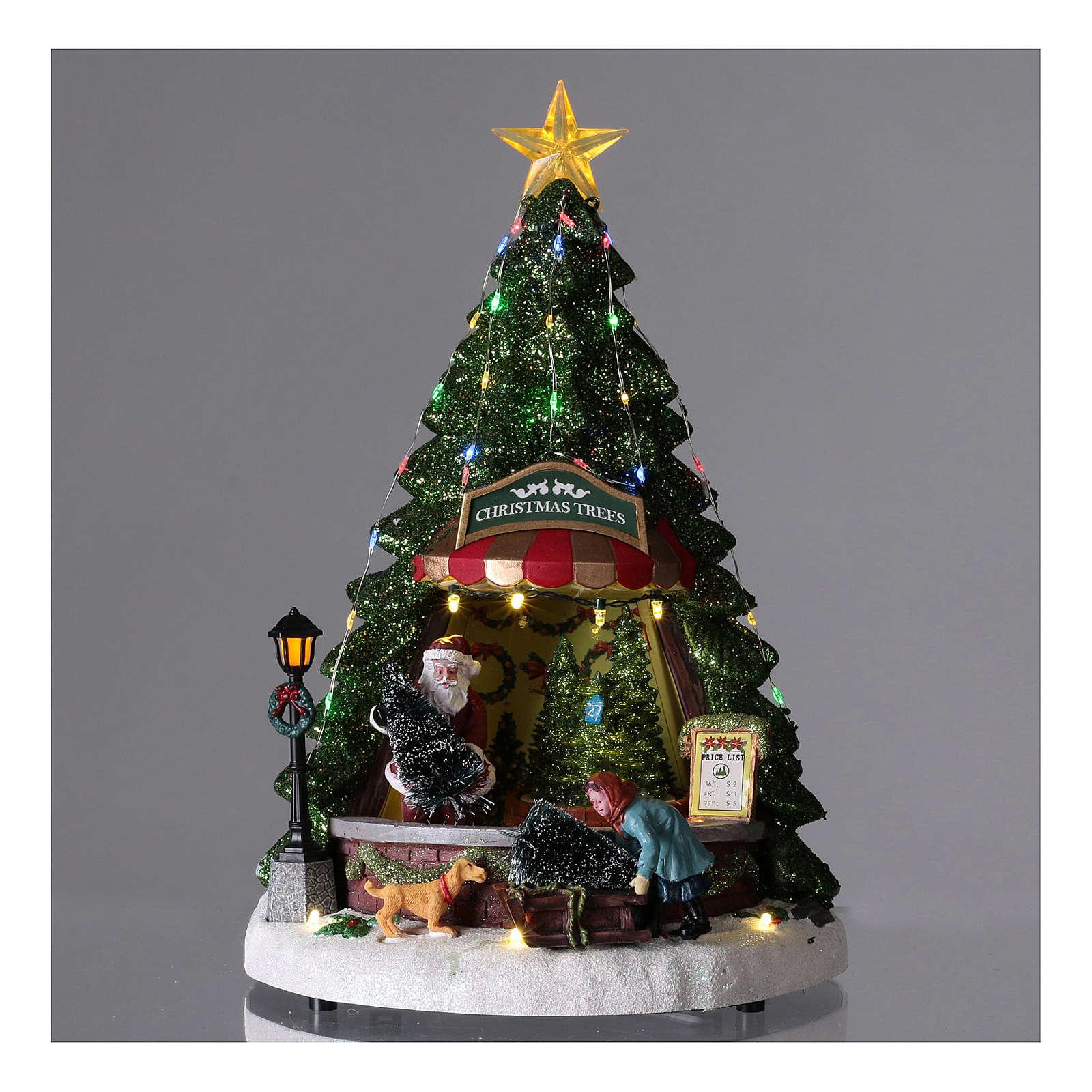 Villaggio di Natale con babbo natale e negozio di alberi 35x20 3