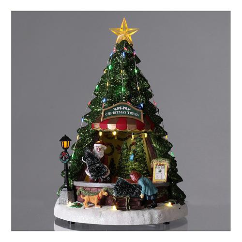 Villaggio di Natale con babbo natale e negozio di alberi 35x20 2