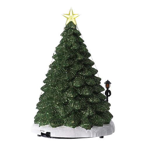 Villaggio di Natale con babbo natale e negozio di alberi 35x20 5
