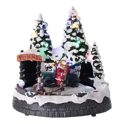 Village Père Noël enfants traineaux éclairage musique 20x20x15 cm 1