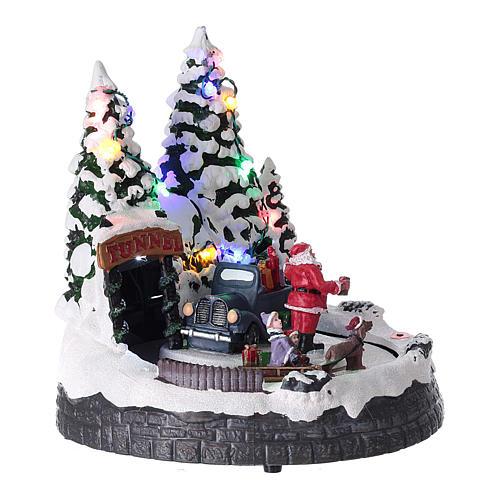 Village Père Noël enfants traineaux éclairage musique 20x20x15 cm 4