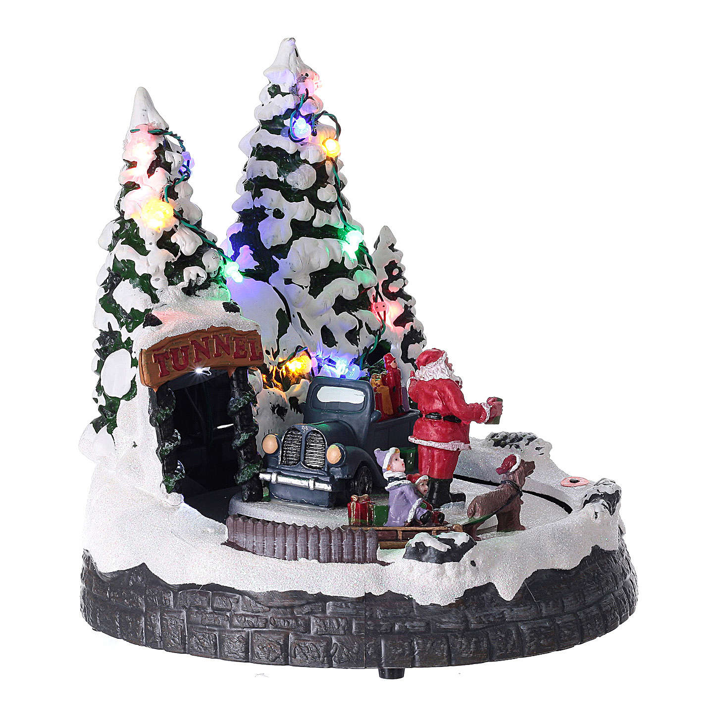 Santa Claus Christmas village children on sled lighted music 20x20x15 cm 3