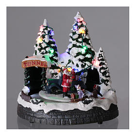 Santa Claus Christmas village children on sled lighted music 20x20x15 cm s2