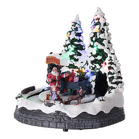 Santa Claus Christmas village children on sled lighted music 20x20x15 cm s3