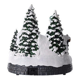 Santa Claus Christmas village children on sled lighted music 20x20x15 cm s5