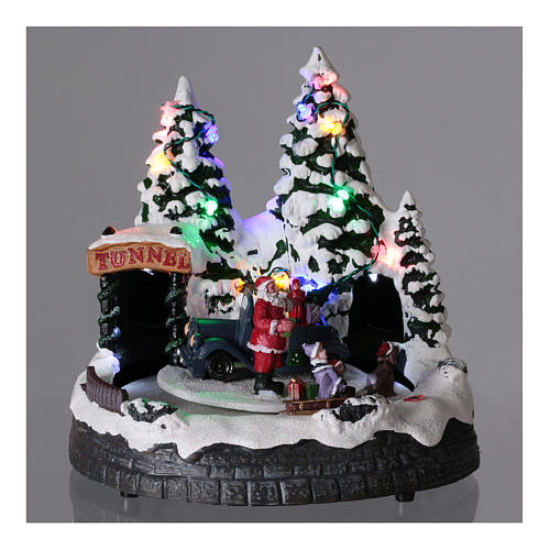 Santa Claus Christmas village children on sled lighted music 20x20x15 cm 2