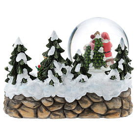Bola de vidrio con Papá Noel en ambientación 15x20x15 cm s6