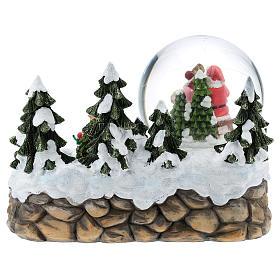 Boule en verre avec Père Noël et décor 15x20x15 cm s6