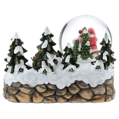 Boule en verre avec Père Noël et décor 15x20x15 cm 6