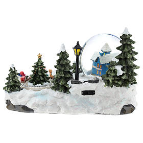 Christmas village with snow globe and train 15x25x15 cm s5