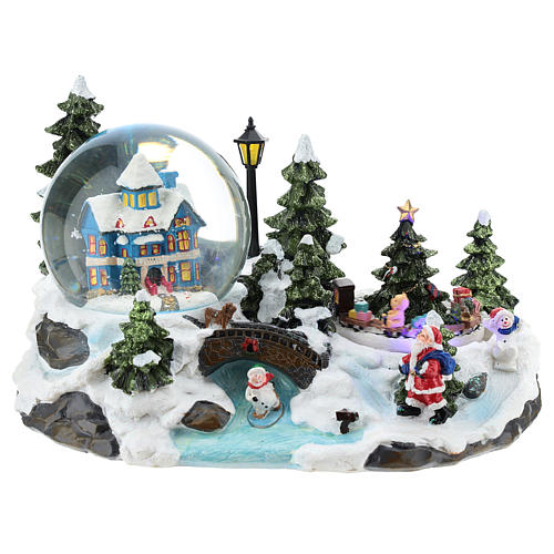 Christmas village with snow globe and train 15x25x15 cm 1