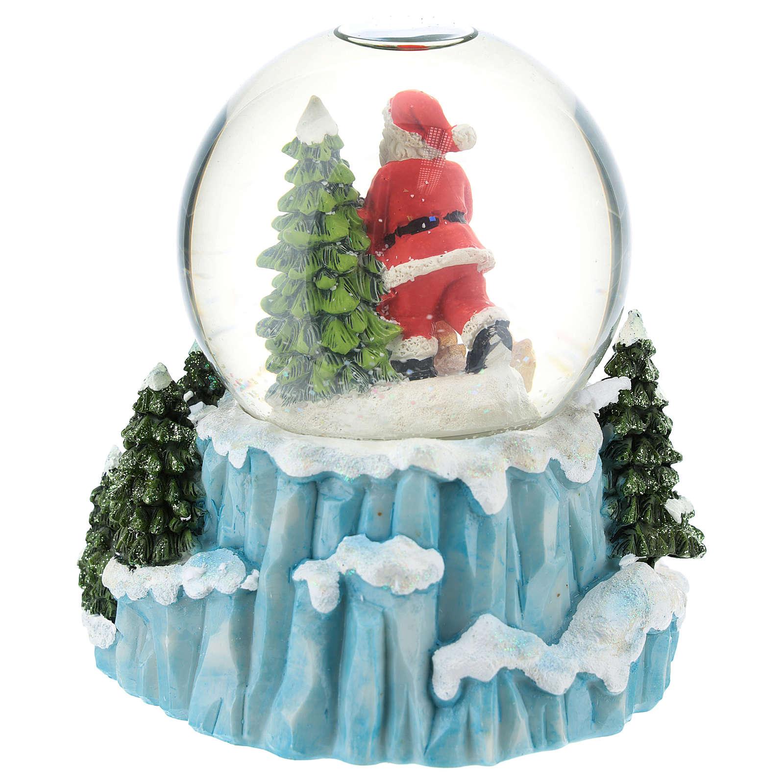 Boule en verre avec Père Noël et traîneau h 15 cm 3