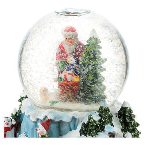 Boule en verre avec Père Noël et traîneau h 15 cm 5