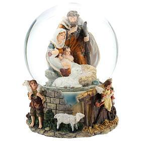 Schneekugel mit Heiliger Familie und Spieldose, 20 cm hoch s4