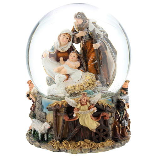 Schneekugel mit Heiliger Familie und Spieldose, 20 cm hoch 1