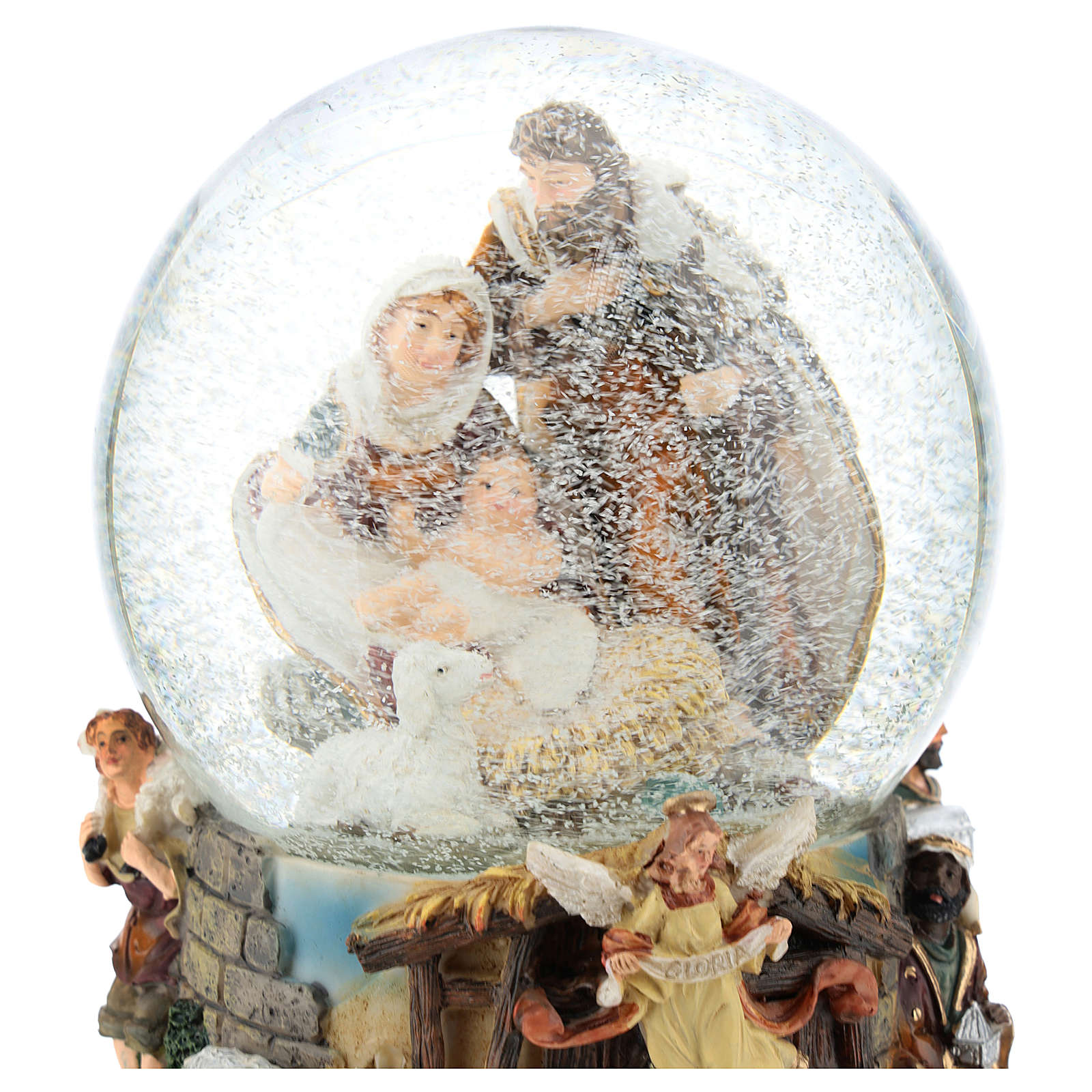 Glass ball with Nativity and music box h. 20 cm 3