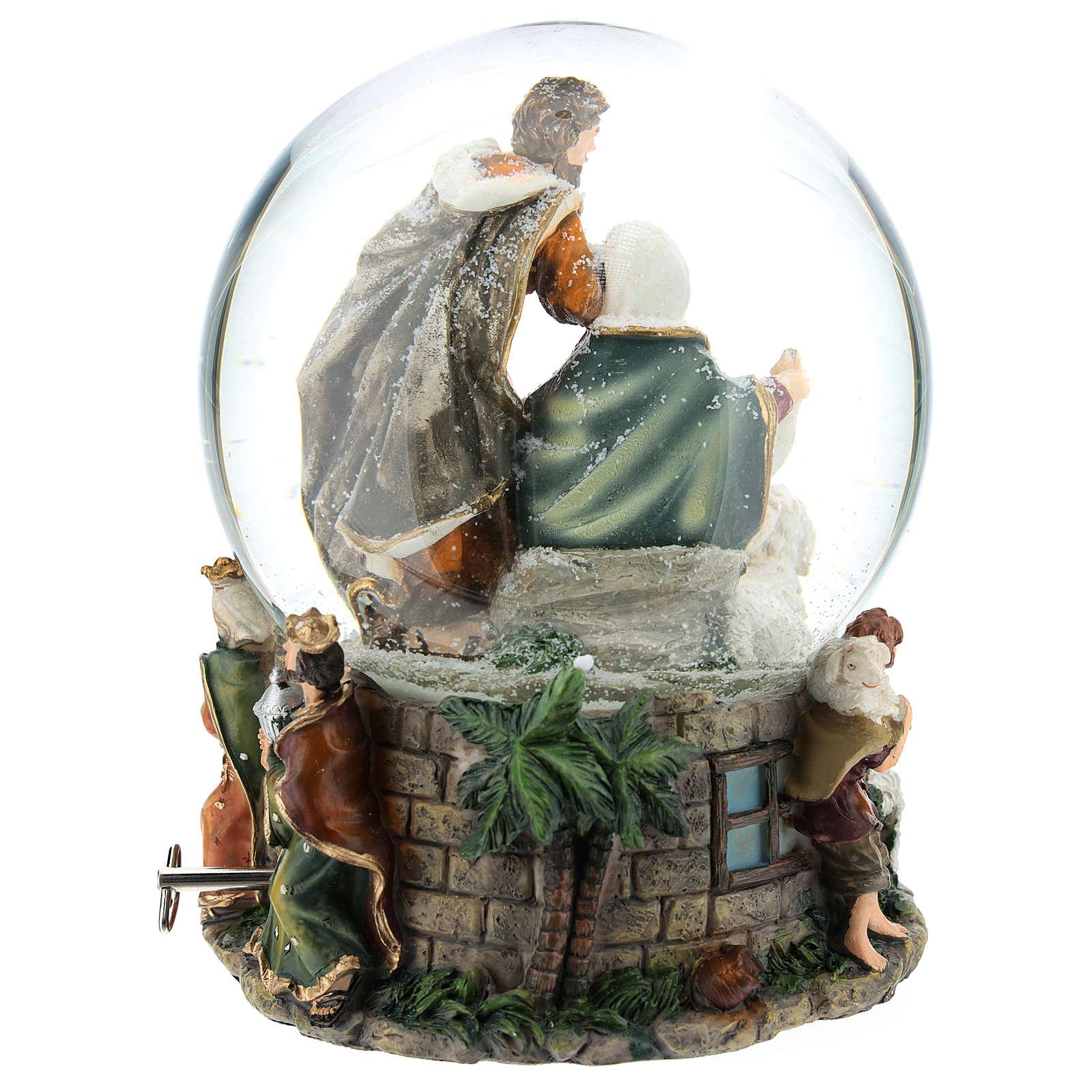 Bola de vidrio navideña con Natividad y carillón h. 20 cm 3