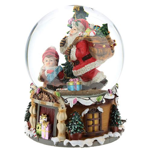 Snowball with Santa Claus with gifts h.20 cm 3
