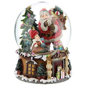 Boule à neige Père Noël avec cadeaux carillon h 20 cm s4