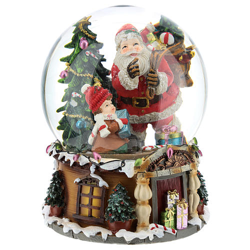 Boule à neige Père Noël avec cadeaux carillon h 20 cm 4