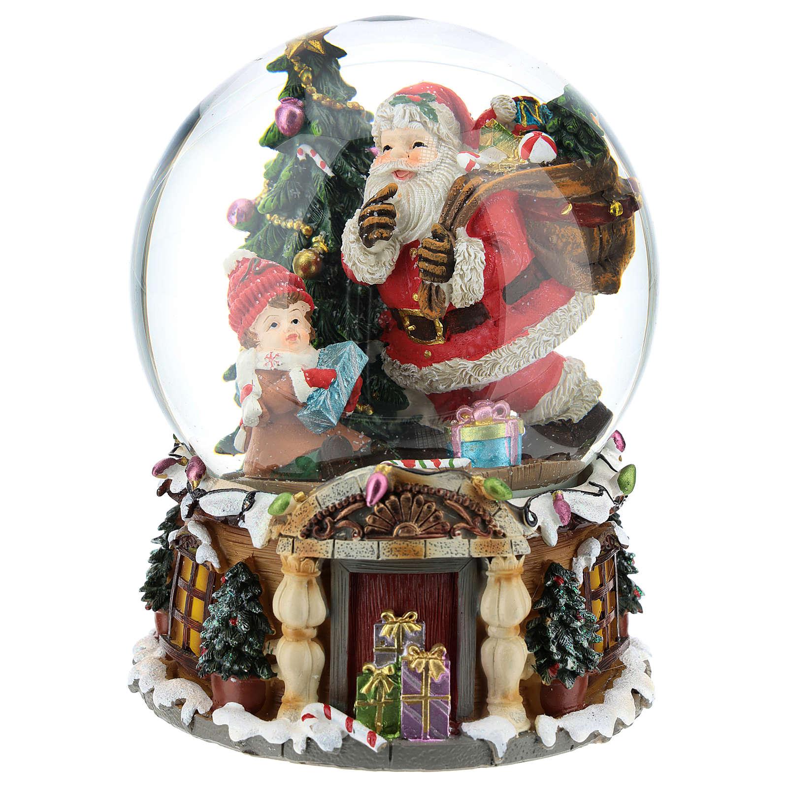 Palla di neve Babbo Natale con doni carillon h.20 cm 3