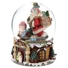 Palla di neve Babbo Natale con doni carillon h.20 cm s3