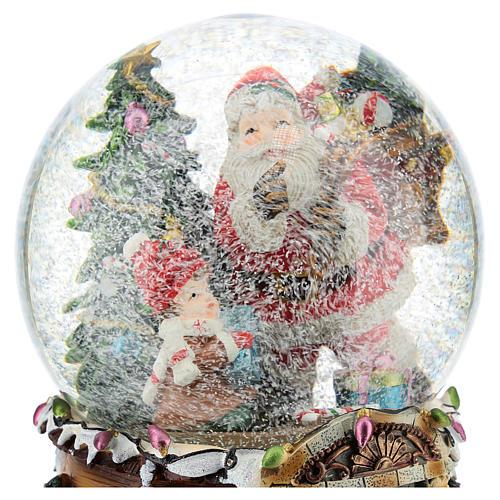 Palla di neve Babbo Natale con doni carillon h.20 cm 2