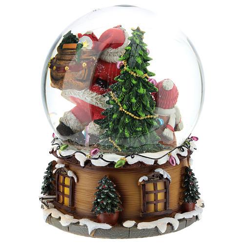 Palla di neve Babbo Natale con doni carillon h.20 cm 5