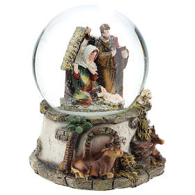 Schneekugel mit Heiliger Familie und Spieldose, 15 cm hoch s4