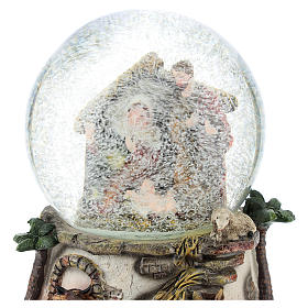 Resin and glass snowball with Nativity h.15 cm s2