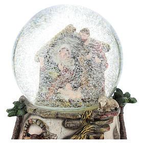 Bola de nieve de resina y vidrio con Natividad y carillón h. 15 cm s2
