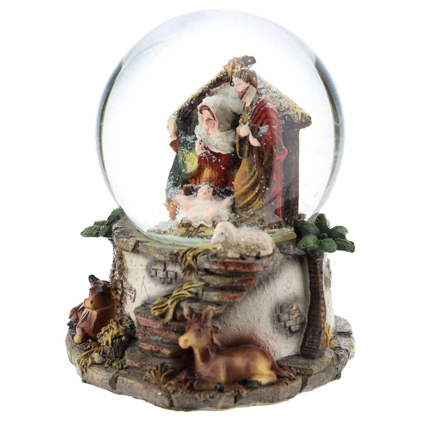 Boule à neige en résine et verre avec Nativité et carillon h 15 cm 3