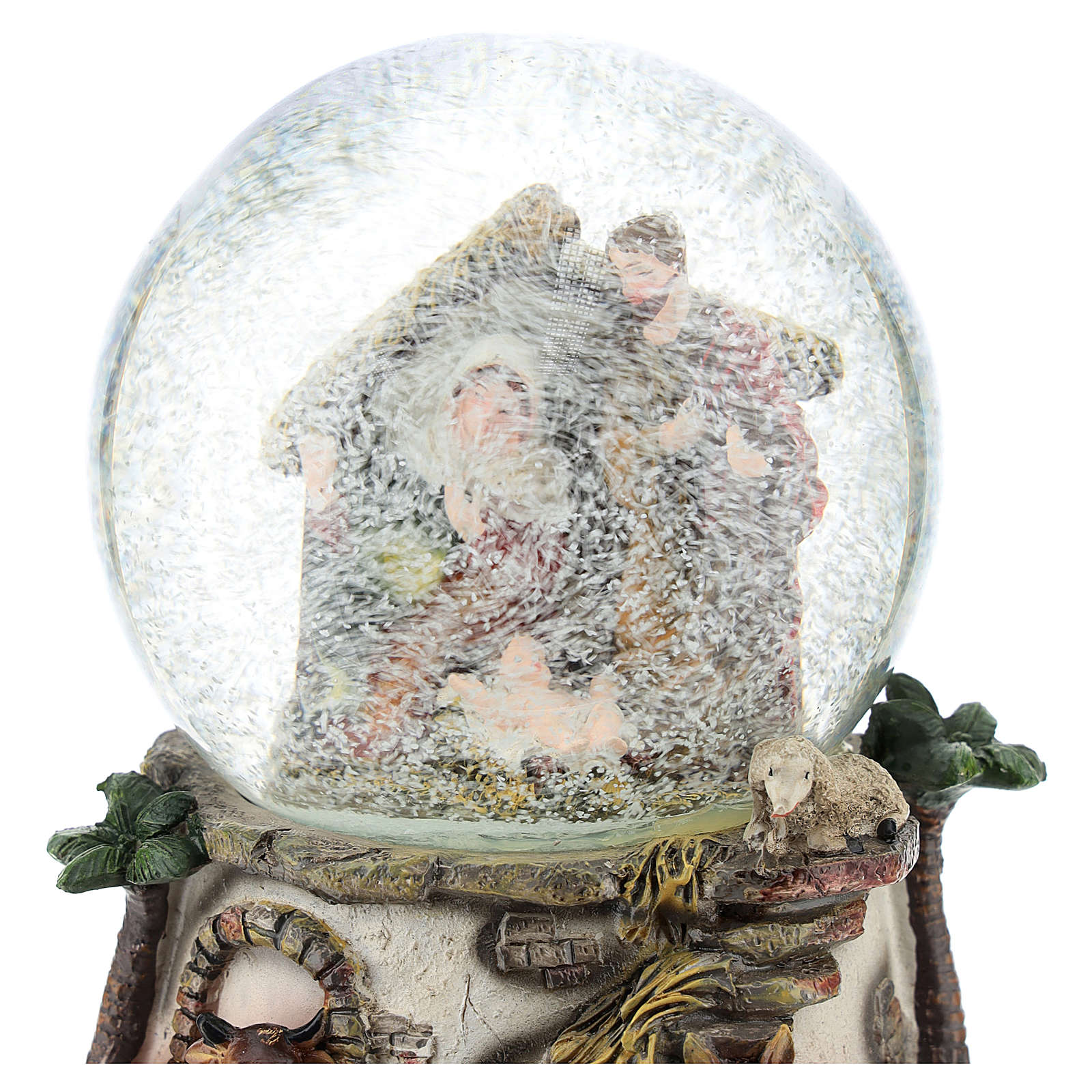 Snow globe in resin and glass with Nativity Scene and music h. 15 cm 3