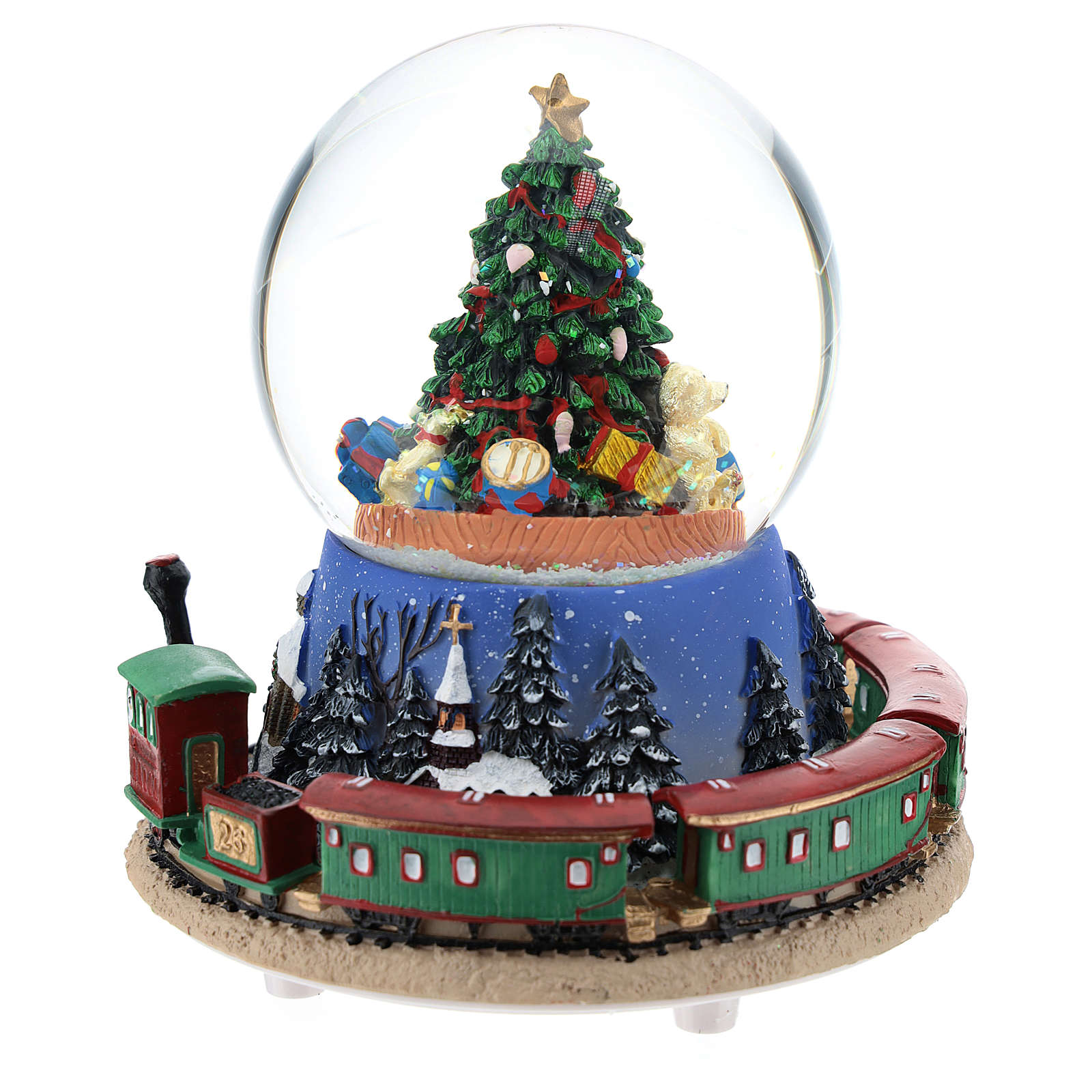 Snowball with Christmas tree and train h. 15 cm 3